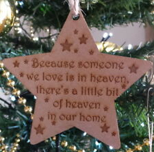 Memorial Someone In Heaven Star Wooden Christmas Tree Decoration