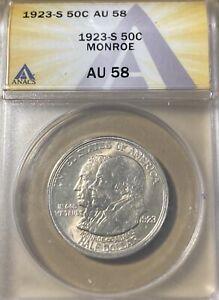 1923-S ANACS AU58 Monroe Silver Commemorative Half Dollar!