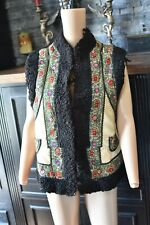 Vintage Men's Traditional UKRAINIAN VEST w/ Black Goat Hair Embroidered Leather