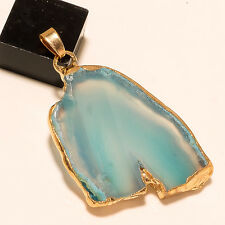Gold Plated Handmade Beautiful Blue Druzy Designer Exclusive Pendant Jewelry