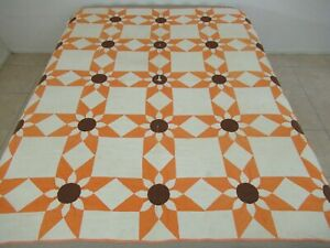 """Vintage Hand Pieced & Densely Quilted Cotton MISSOURI DAISY Thin Quilt; 72"""" Sq"""
