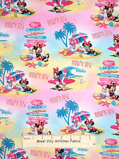 Disney Minnie Mouse Daisy Duck Surf Beach Cotton Fabric Springs CP53523 YARD