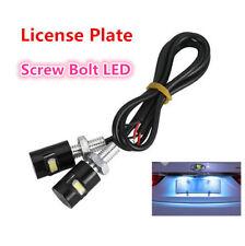 2 x White Car License Plate Screw Bolt Light bulbs Lamp&LED SMD Motorcycle 6000K