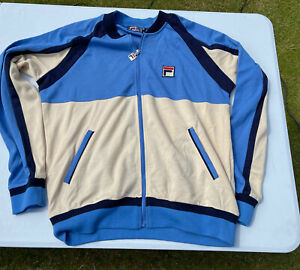 FILA WHITE LINE ZIP UP CASUAL SPORTS TOP UK SIZE LARGE L VERY GOOD CLEAN