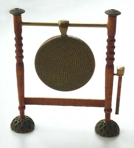 1/12 dolls house miniature Hand Made Gong & Striker for Dinner Table Lounge LGW