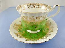 REGAL GREEN FOOTED TEA CUP & SAUCER SET BY ROYAL ALBERT CHINA ENGLAND