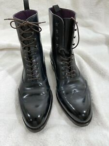 Carmina Balmoral Cordovan Boots, Custom Dark Navy