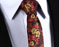 UK Wedding Tie Black Silk Red Yellow Gold Brown Floral Paisley 550 C4