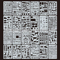 24pcs Bullet Journal Stencil Set Plastic Planner DIY Drawing Template Diary Tool