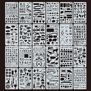 24pcs Bullet Journal Stencil Plastic Planner Template Diary Tool for DIY Drawing