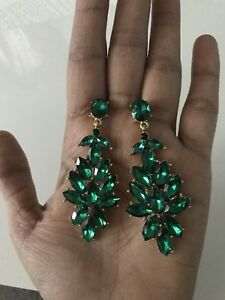 "2.5"" Green Emerald Gold Long Crystal Pageant Bridal Earrings Formal Rhinestone"