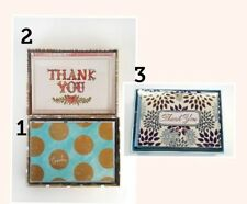 MOLLY & REX Punch Studio NOTE CARD BLANK THANK YOU SET OF 12 gold engrossed line