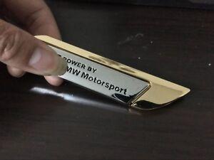 1PCS Power by M Motorsport Gold Chrome Metal Car Side Badge Emblem Sticker
