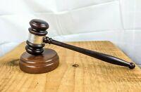 ⚖️ Vintage Sterling 925 Silver & Walnut? Wood Judge Gavel Moorestown Men's Club
