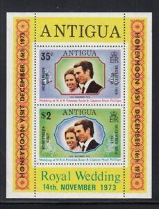 ANTIGUA Princess Anne Royal Wedding Honeymoon Overprint MNH souvenir sheet