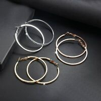 Rose Gold - Silver - Gold Round Rhinestone Hoops - Sparkly Bling Hoop Earrings
