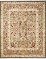 8X10 Hand-Knotted Lahore Carpet Oriental Green Fine Wool Area Rug D40520