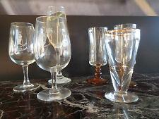 Lot de 6 pièces verres à vin flutes à champagne bougie vintage design XXe