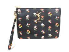 Auth SAINT LAURENT PARIS Prairie Flower 377816 Black Multi Leather Clutch Bag