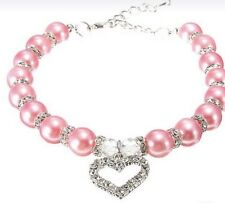 New Pink Pearl Dog Collar With Silver Heart Bling for Your Pig Cat Duck Medium