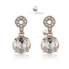 18k rose gold gf made with SWAROVSKI crystal stud dangle earrings 2ct elegant
