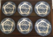 Vintage Churchill The Georgian Collection Blue White Side Plates Set Of 6