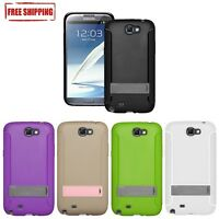 NEW AMZER TPU SKIN CASE COVER WITH KICKSTAND FOR SAMSUNG GALAXY NOTE 2 GT-N7100
