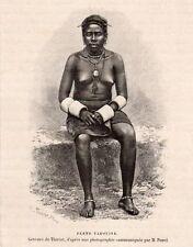 FEMME PAHOUINE AU SEINS NUS WOMAN BREATHLESS CONGO GABON IMAGE 1888 PRINT