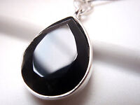 Faceted Black Onyx Pendant 925 Sterling Silver Imported from India New