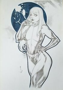 Laurie Juspczyk original pencil & blue ink 11x17 by Marcos - Ed Benes Studio