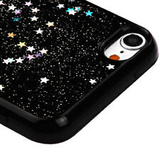 For iPod Touch 5th & 6th Gen - TPU RUBBER CASE COVER BLACK GLITTER SHINY STARS