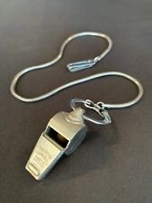Vintage Acme Thunderer Silver Metal Wilson Police Whistle Loud England W/Chain