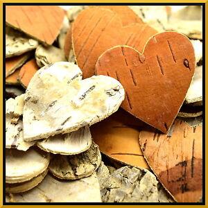 10x Large Birch Bark Hearts Rustic Bridal Wedding Venue Decorative Shapes Crafts