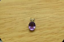 925 STERLING SILVER OVAL PURPLE AMETHYST SOLITAIRE PENDANT CHARM -SMALL #A3928