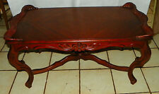 Carved Mahogany Book Matched Veneer Top Coffee Table  (CT130)