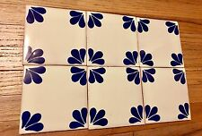 Vintage Spanish/Mexican Tiles Hand-Painted Blue & White Floral Petal Design 150