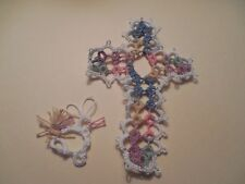 Tatted Cross Bookmarks Pastel White Get Well Gift Bible Tatting By Dove Country