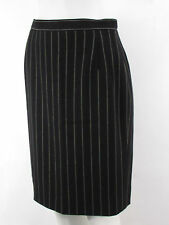 Escada Women Formal Black White Stripes Wool Blend Elegant Pencil Skirt Suit