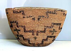 "HUGE 19th C. Coastal Salish Burden Basket NW Coast  Origin 17"" L. Dec w Crosses"