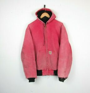 VTG Mens CARHARTT Worn Red Thermal Lined Hood USA Workwear Chore Jacket   L Tall