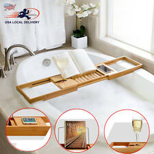 Adjustable Bamboo Bathtub Rack Shelf Caddy Tray Wine Holder Book Stand Shower