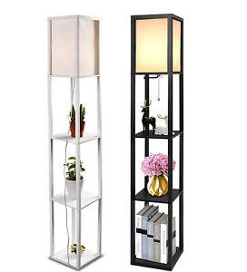 3-Ebene Standleuchte Stehlampe Bodenlampe Stehleuchte Holz Regal E27 Stehlampe