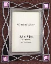 Marco De Fotos De Metal Plateado Con Gemas Violeta, 9cm por 13cm, por FrameMaker