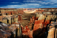 Panorama of Red Streaked Coal Mine Canyon Photo Art Print Poster 18x12 inch