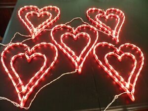 Lot of 5 Lighted Double Heart Valentine, Wedding, Engagement, Window/Door Decor