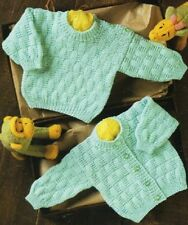 Baby knitting pattern CARDIGAN & Sweater 8 Ply Includes PREMMIE size