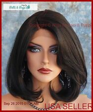 Lace Front Wig HAND TIED FRONT 1B SOFT SEXY MEDIUM  BOB C-PART US SELLER 102