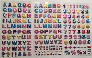 ABC Alphabet Buchstaben Schulanfang glitzer Softy-Sticker Geburtstag Aufkleber