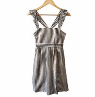 Madewell $118 Striped Ruffle-Strap Empire Dress Size 0 Sleeveless Fit And Flare