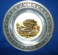 """Vintage PEWTER PLATE - Currier & Ives """"Autumn in New England"""""""